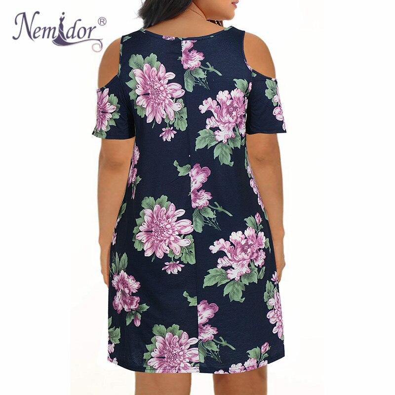 Nemidor Women's Cold Shoulder Plus Size Casual T-Shirt Swing Dress with Pockets (25)