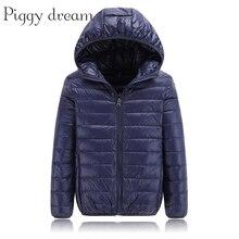 คุณภาพสูง 2020 ฤดูหนาวชายเสื้อลงเสื้อเด็ก Light Down Coat Hooded หญิงบาง WARM Outerwears 10 12 14 16 Y