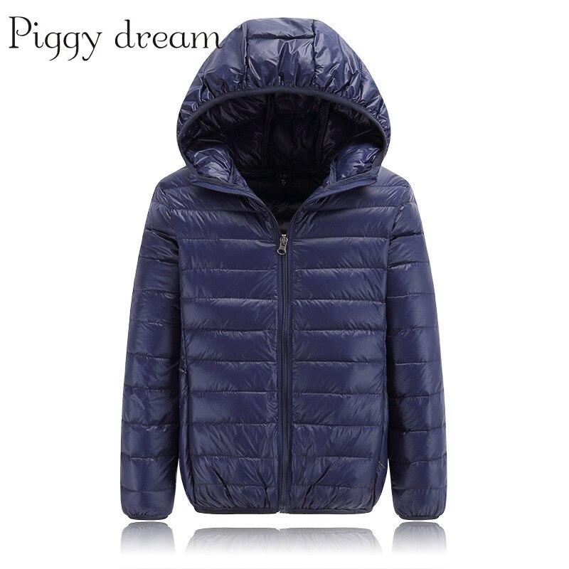 Высокое качество, зимняя куртка-пуховик для мальчиков, для маленьких детей, светильник пуховое пальто на утином пуху с капюшоном для защиты ...