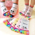 1X Cute Cartoon Women Girl Smile Five Fingers Ankle Socks Colors Sports Toe Socks
