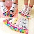 1X Linda Muchacha de Las Mujeres Sonrisa de Dibujos Animados Cinco Dedos Calcetines de Colores Deportes Calcetines Del Dedo Del Pie