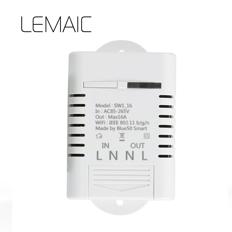 LEMAIC Smart Wifi Switch DIY Smart Wireless Remote Switch Wifi Light Switch Smart Home Controller Work with Alexa 16A itead sonoff smart wifi switch diy smart wireless remote switch domotica wifi light switch smart home controller work with alexa