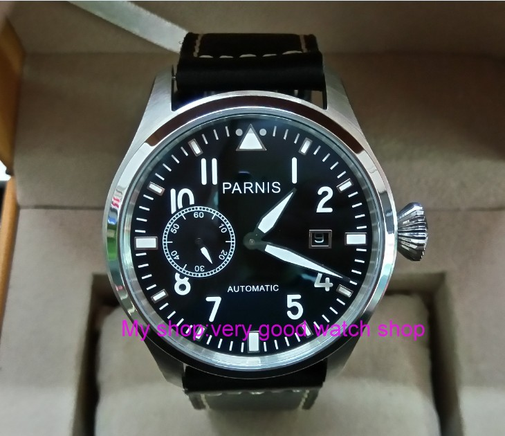 47mm big pilot PARNIS Black dial Automatic Self-Wind movement Auto Date men watches luminous Mechanical watches df72A