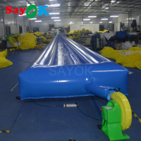 30x2x0.6m Large Inflatable flat Water slide, game park Inflatable water slide way sale