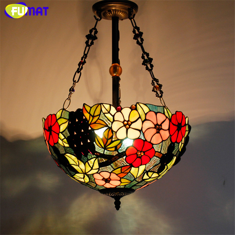 FUMAT Stained Glass Pendant Lamp Antique 16 Suspension Lights Living Room Glass Dragonfly Flower Baroque Kitchen Pendant Lights fumat stained glass pendant lights garden art lamp dinner room restaurant suspension lamp orchids rose grape glass lamp lighting