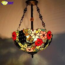 Фумат витражный подвесной светильник Ретро 16 «подвесные светильники Тиффани стекло Стрекоза Роза барокко Hanglamp кухня подвесной светильник