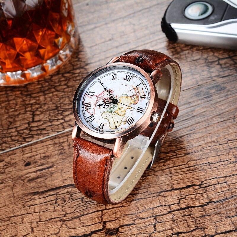 Lover's Stylish Antique Bronze Textured Leather Band Quartz Watches Simple Black/Red/Brown Mini World Map Watch Men Women bronze brown