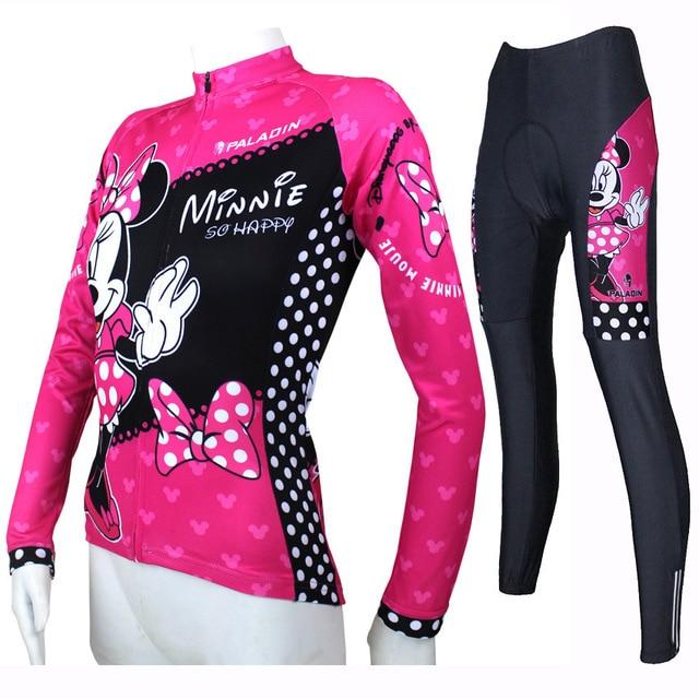 Lovely Minnie cycling jersey full zipper bike t-shirt long sleeve pink bike jerseys for girls