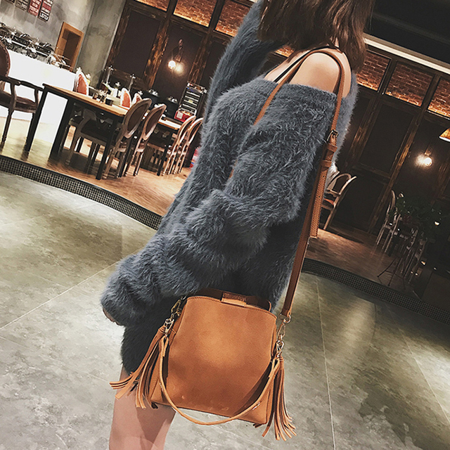 2019 Fashion Scrub Women Bucket Bag Vintage Tassel Messenger Bag High Quality Retro Shoulder Bag Simple Crossbody Bag Tote 5