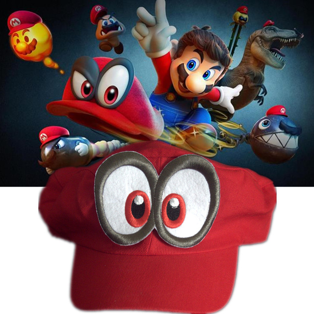 Game Super Mario Odyssey Hat Adult Kids Cosplay Hats Cap Handmade Red Odyssey Mario Cosplay Cap Adjustable red Hat