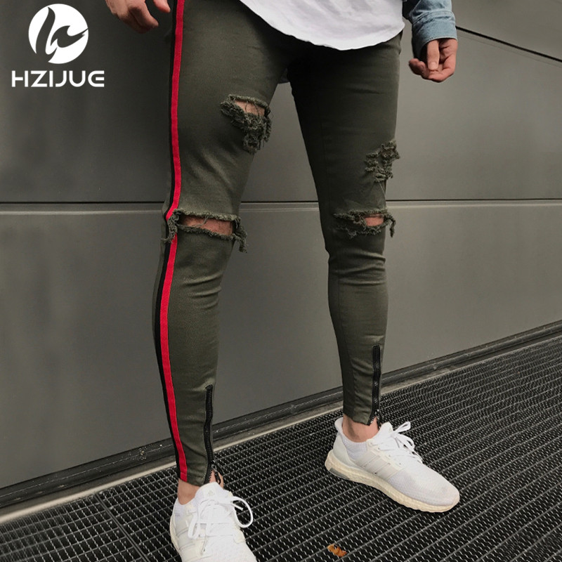 HZIJUE 2018 High Quality The side stripe   Jeans   Men Brand Casual Hip Hop Ripped   Jeans   Homme Designer Retro Denim Pants mens