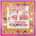 Nuevas Mujeres de La Bufanda Del Satén Cinta de Carreras de Caballos Patrón Pañuelo Bufanda de Seda de Las Mujeres de La Marca de Moda Ropa Accesorios SH1512149
