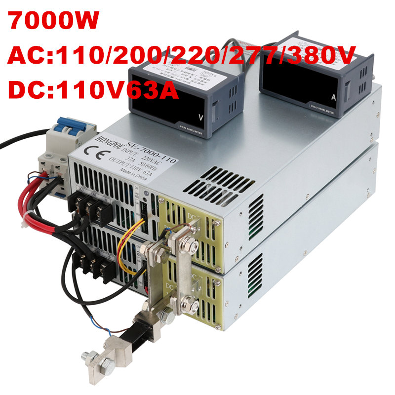 7000W 110V 63A 0-110V power supply 110V 63A AC-DC High-Power PSU 0-5V analog signal control DC110V 63A 110V 200V 220V 277VAC 110v