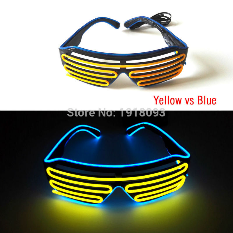 High Quality 17 Style Select Glowing Party Decor EL Shutter Glasses Novelty Lighting LED Neon+DC-3V Sound Active Cell Box Driver