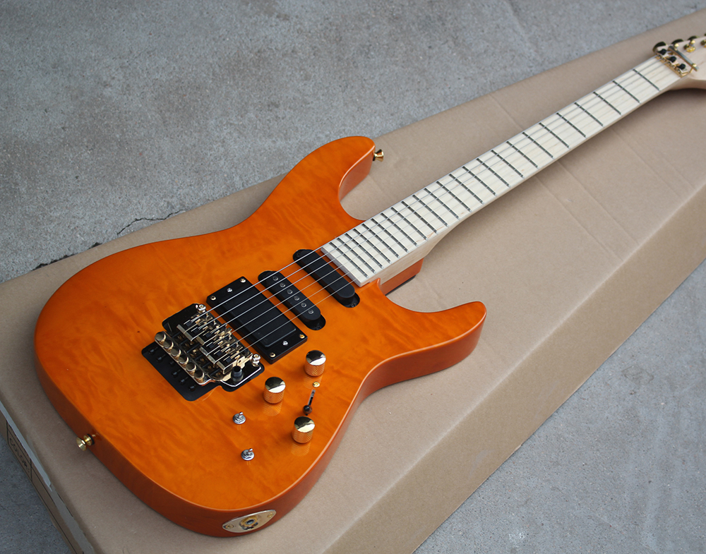 Factory Custom Orange Electric Guitar with Floyd Rose,3 Pickups,No Frets Inlay,Gold Hardware,Flame Maple Veneer,Offer Customized new style custom sg electric guitar 3 pickups gold hardware sg electric guitar with gold tremolo system free shipping
