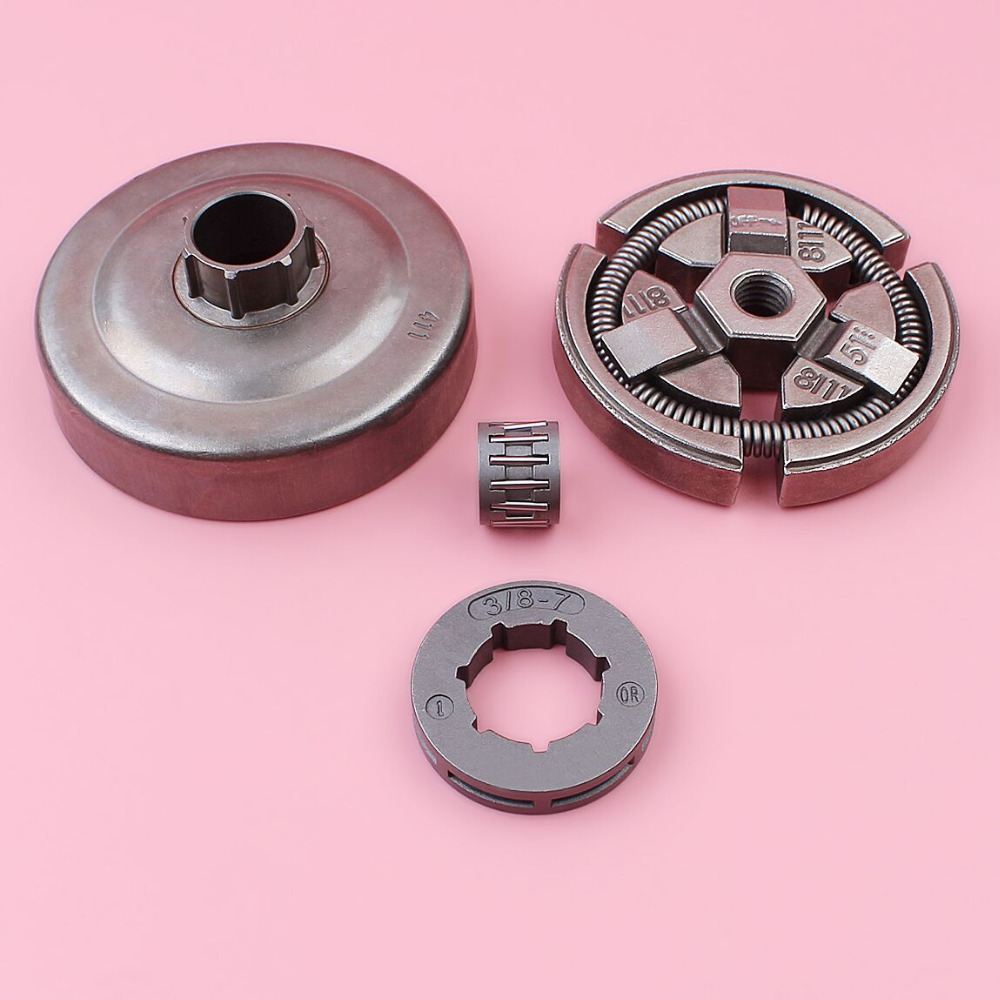 Clutch Drum 3/8 7 Teeth Sprocket Rim For Husqvarna 55 51 50 Chainsaw Garden Tool Spare Part with Needle Bearing Kit steel tool parts 4500 5200 5800 chainsaw sprocket rim clutch drum one body w needle bearing set for 45cc 52cc 58cc chainsaw part