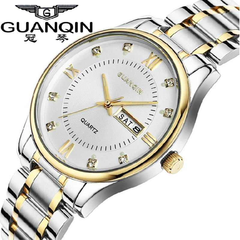 ФОТО GUANQIN mens watches top brand luxury Casual Quartz- watch Men Full Steel Auto Date Waterproof wristwatch relogio masculino