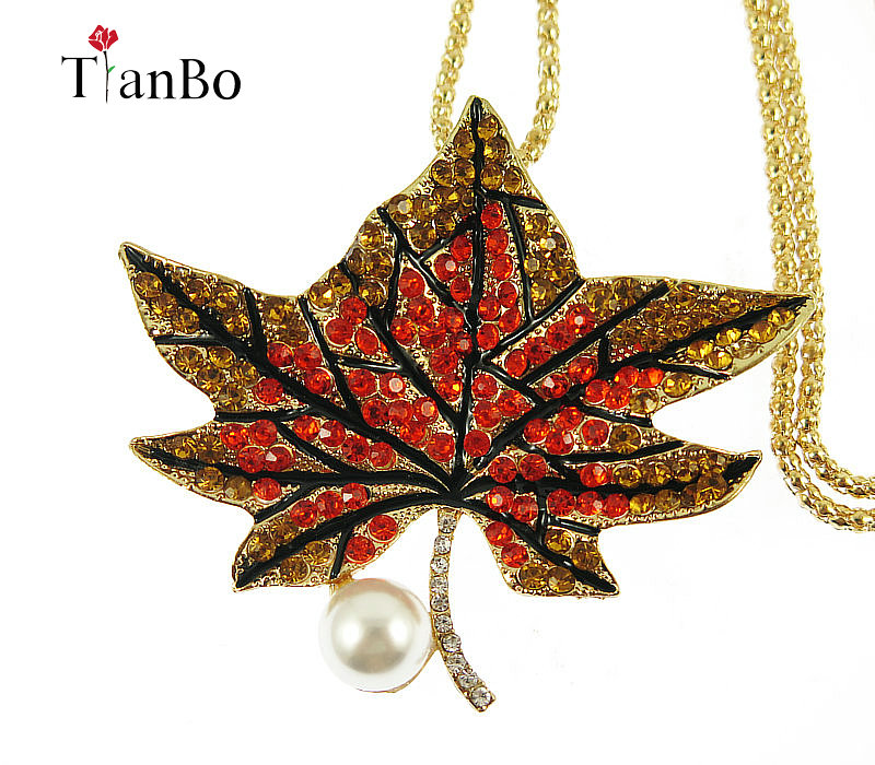 TianBo 2018 New Gold color <font><b>Cannabiss</b></font> Small Weed Herb Charm Necklace Maple Leaf Pendant Sweater chain Hip Hop Jewelry Wholesale image