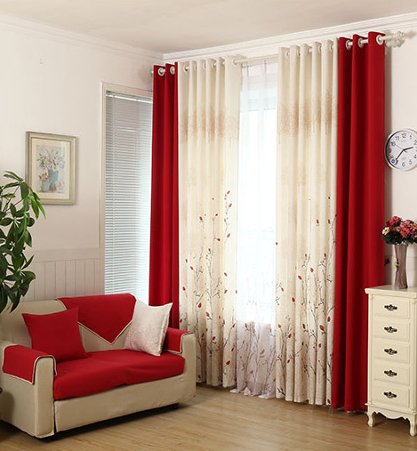 Achetez en gros rouge rideau en ligne des grossistes rouge rideau chinois for Red and cream curtains for living room