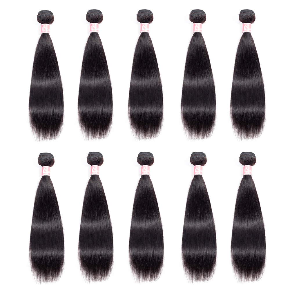 LS Hair 10 Bundles Deals Brazilian Hair Weave Bundles Straight Human Hair Bundles Remy Extensions Natural Color Free Shipping