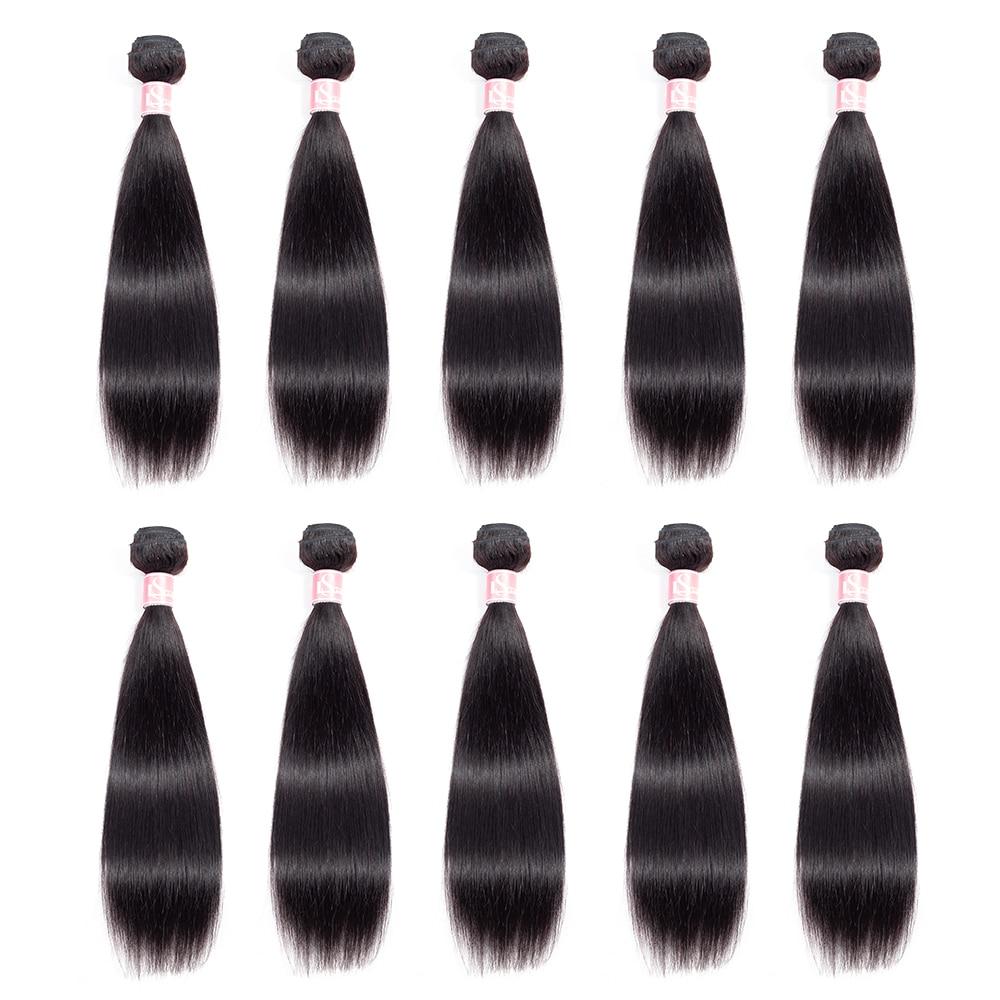 LS Hair 10 Bundles Deals Brazilian Hair Weave Bundles Straight Human Hair Bundles Remy Extensions Natural Color Free Shipping