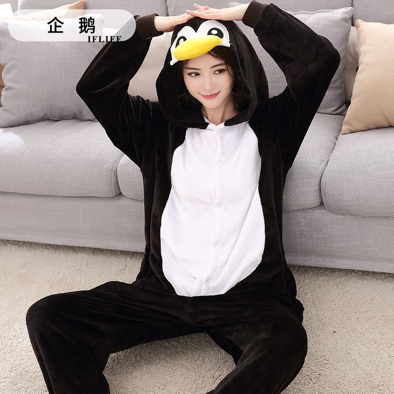Adults Animal Kigurumi Penguin Pajamas Sets Sleepwear Cosplay Zipper Onesie Hooded Women Men Winter Unisex Cartoon Pajamas