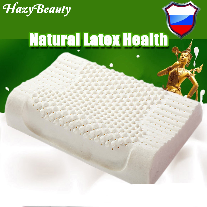 HazyBeauty Thailand Import Breathable Natural Latex Pillow Bed Cervical  Orthopedic Sleeping Bedding Massage Particles Pillows