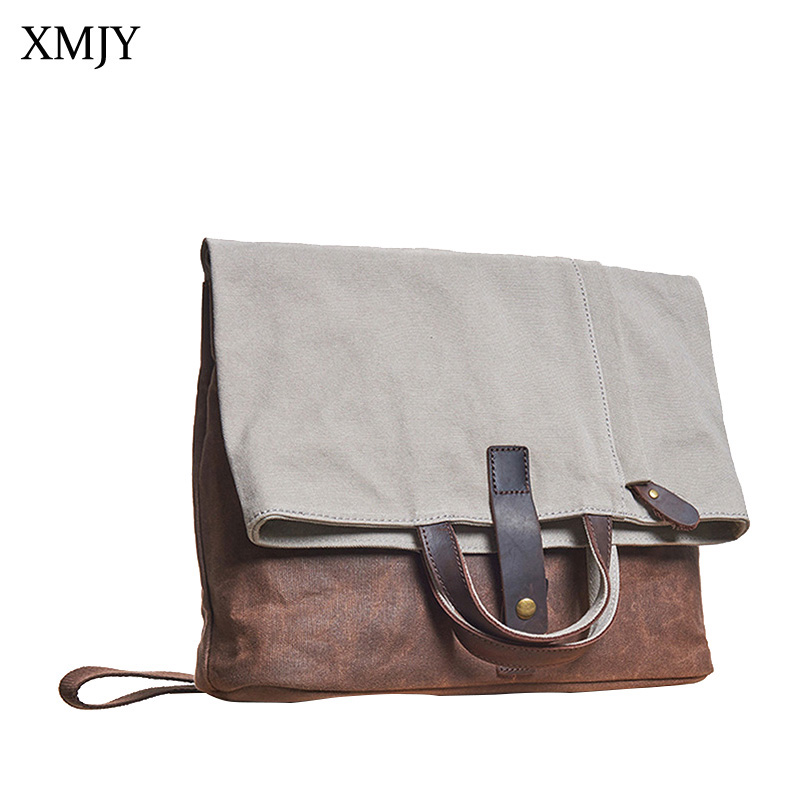 XMJY Canvas Patchwork Waterproof Messenger Bags Vintage Hangbags Men Casual Shoulder Crossbody Pack Capacity Laptop Travel Bag vintage canvas travel shoulder bag men messenger bags fashion cover crossbody bag large capacity male multi function laptop bags