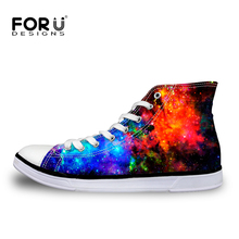 2017 hot men's high top & low top canvas shoes fashion galaxy stars printed man vulcanize shoes casual male flats