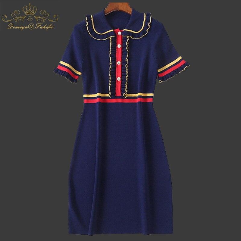 Family Clothes 2018 New Spring Autumn Summer Women Casual Dress Elastic Waist Ruffle Neck Knitted Dress For Girls Dropshipping tie neck elastic waist glitter dress