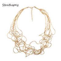 STRATHSPEY, новинка, длинное ожерелье с неровной медной трубкой для женщин, золотое ожерелье, свадебные массивные ожерелья, 2019 ювелирные изделия