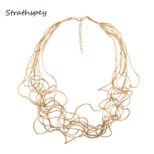 STRATHSPEY New Long Irregular Copper Tube Necklace Lobster Clasp Matt Rhodium/Matt Gold/Matt Silver Color For Women Accessory