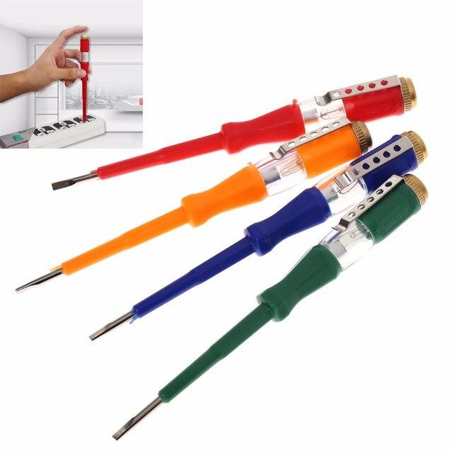 Stylo de Test tournevis plat Portable outil électrique utilitaire dispositif de lumière tournevis outils à main testeur de tension LED coloré