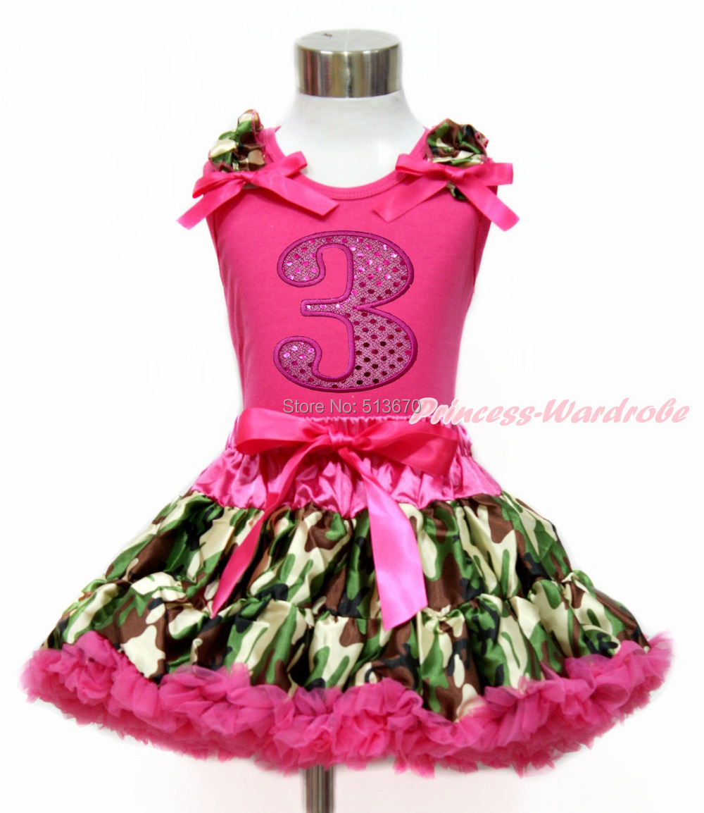 Hot Pink Sparkle 3RD White Top Camouflage Pettiskirt Set 1-8Year MG1209
