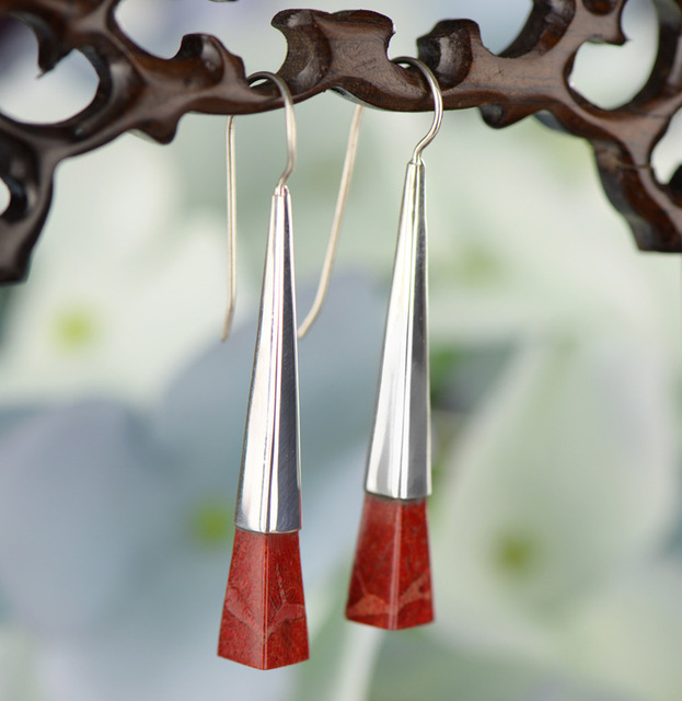 Red Coral 925 Sterling Silver Earrings1122