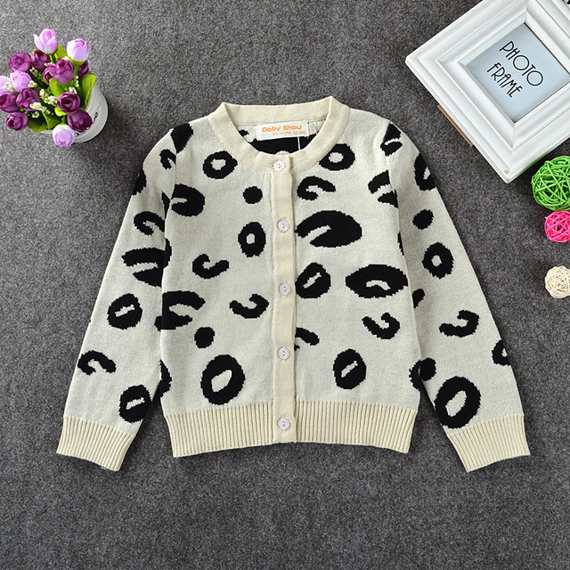 fashion new spring Europe Children's Leopard grain dot Cardigan sweater boy girl long sleeve clothes baby  cotton knitting top