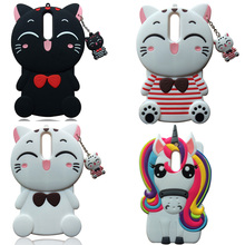 3D Cute Cartoon Soft Silicone Case Unicorn Lucky Cat Back Cover Skin For Nokia 3 5 6 8
