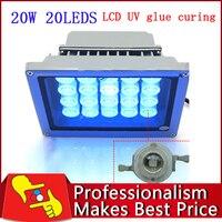 O envio gratuito de 20 LEDS 20 W luz UV cola lâmpada de cura rápida para cola LOCA e LCD refurbish