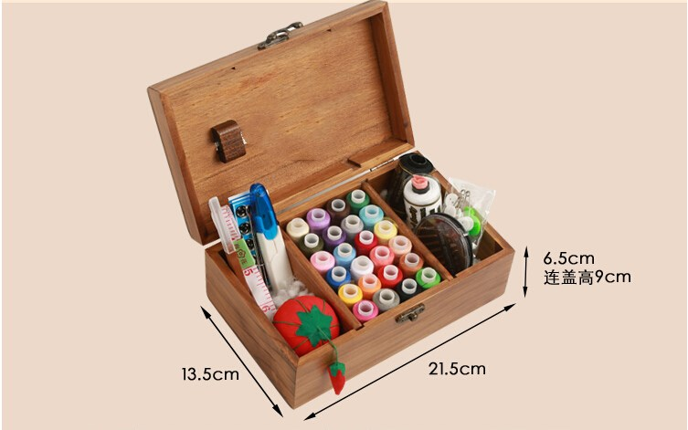 DIY Wood Box Sewing Kit Needle Tape Scissor Multifunction Threads Sewing Tools Accessory Sewing Kits For Home & Travelling With