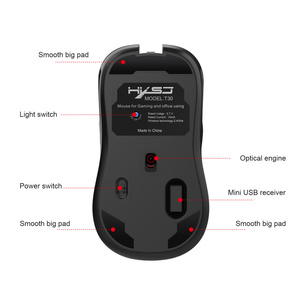 Image 3 - HXSJ new wireless charging mouse 7 color light 3600DPI gaming mouse wireless support USB and Type c interface black mute Mice