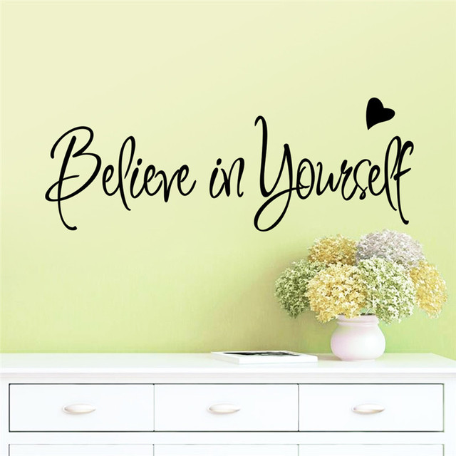 Beileve In Yourself Heart Inspiration Quote Words Home Decor Wall Sticker Clroom Study Room Decoration Party