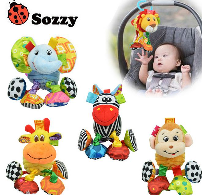 Sozzy Baby Rattle Ring Bell Baby Toys Soft Plush Elephant Crib Bed Hanging Animal Teether Animal Infant Early Educational Doll