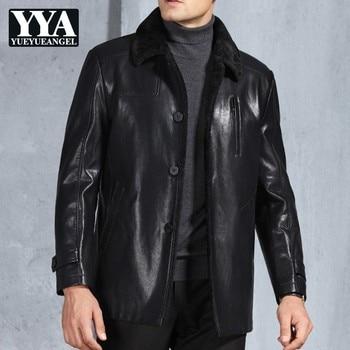 Top Brand Mens Winter Warm Fur Lining Pu Leather Jacket Motor Biker Windproof Male Jackets Office Work Slim Fit Outerwear Coat