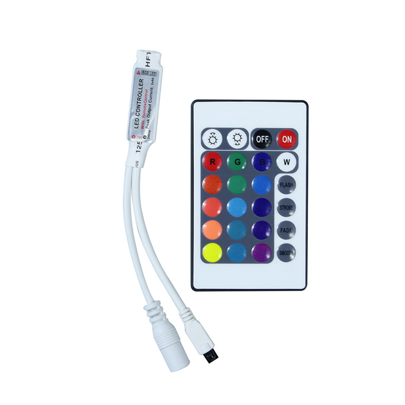 DC12V 24Key Wireless IR Remote RGB LED Controller Mini LED Strip Dimmer for LED Strip B