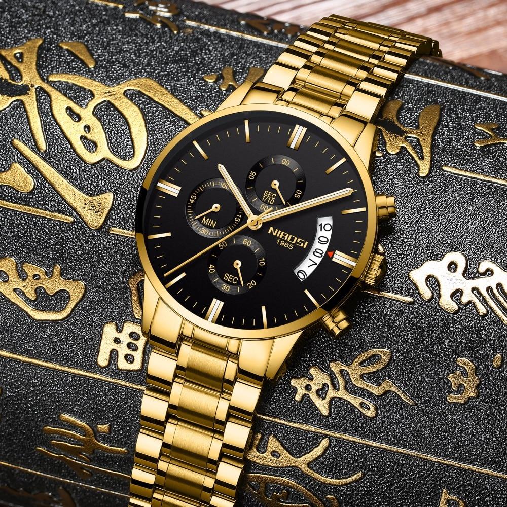 Nibosi часы мужские Для мужчин часы Роскошные известный бренд Для мужчин платье смотреть военные Кварцевые наручные часы Saat металл и кожа и ...