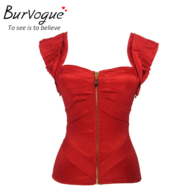 Burvogue Free shipping women red satin   corset   sexy   corset   push-up women pink zipper bodyshaper   bustier   S-2XL