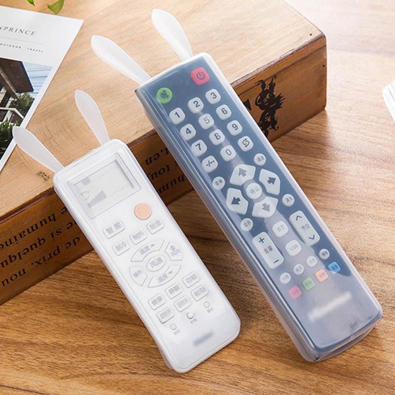 Rabbit Ear Remote Control Cover Silicone Transparent TV Remote Control Case Luminous Air Condition Dustproof Storage Protector