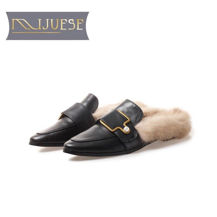 MLJUESE 2018 femmes appartements noir couleur cuir de vache Rome style lapin cheveux hiver laine chaude fourrure confortable appartements taille 33-43