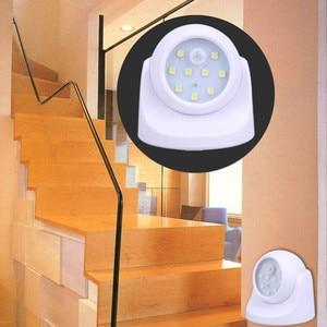 Image 5 - 9 LED אלחוטי חיישן תנועת לילה אור 360 תואר סיבוב לילה אור לילה מנורת קיר אור מנורת סוללה כוח אוטומטי על Off