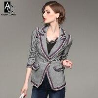 İlkbahar sonbahar kadın blazer ceket beyaz mavi kırmızı şerit sınır yaka cepler gümüş düğmeler yüksek kalite yün karışımları gri ceket